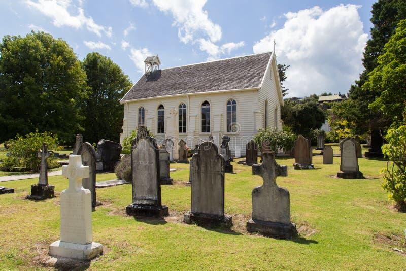 教会和坟园在罗素,新西兰 免版税库存图片