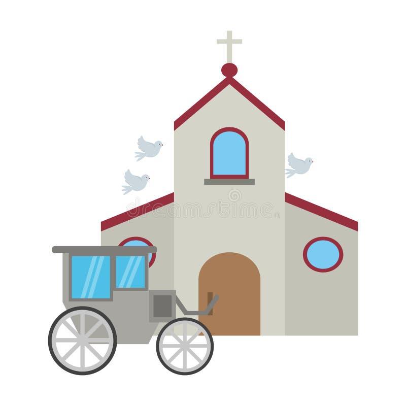 教会和婚姻的支架 皇族释放例证