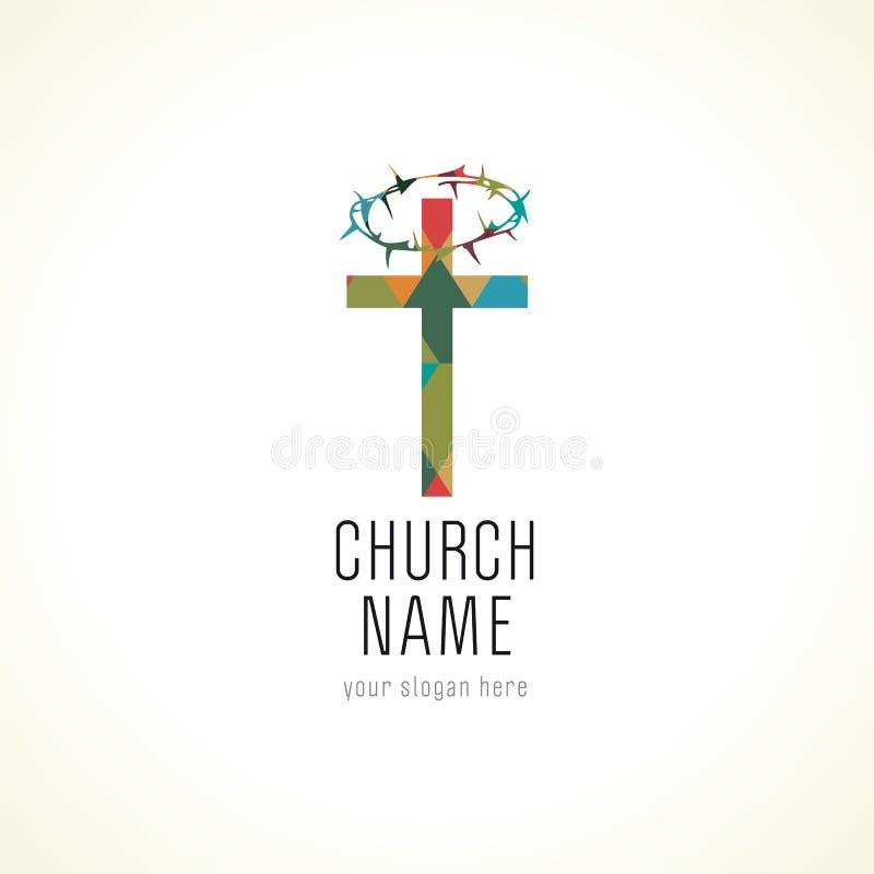 教会商标,老马赛克样式 库存例证