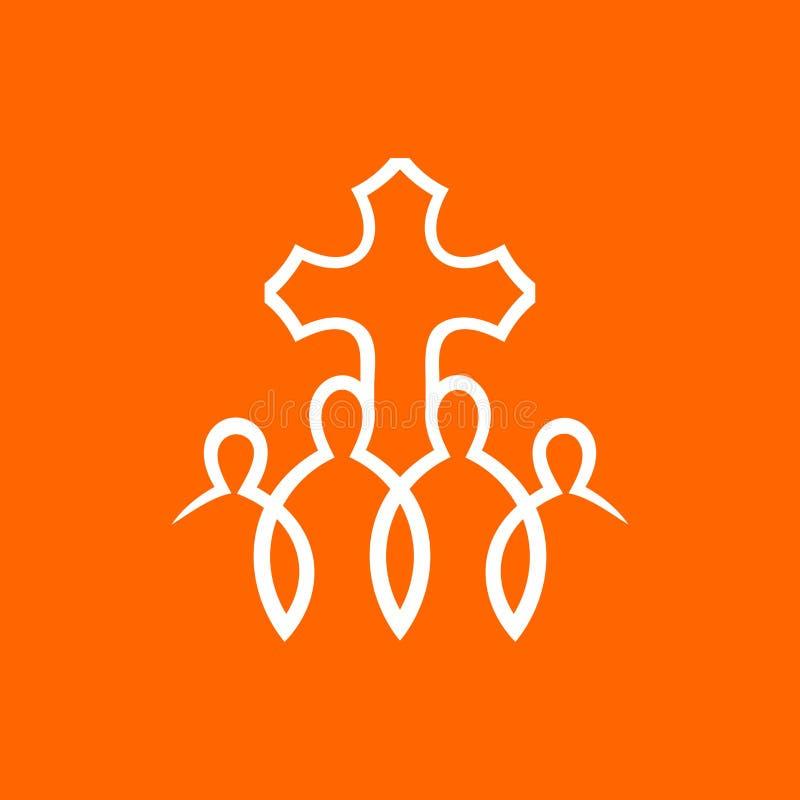 教会商标 人们由在阁下耶稣基督的信念团结了 库存例证