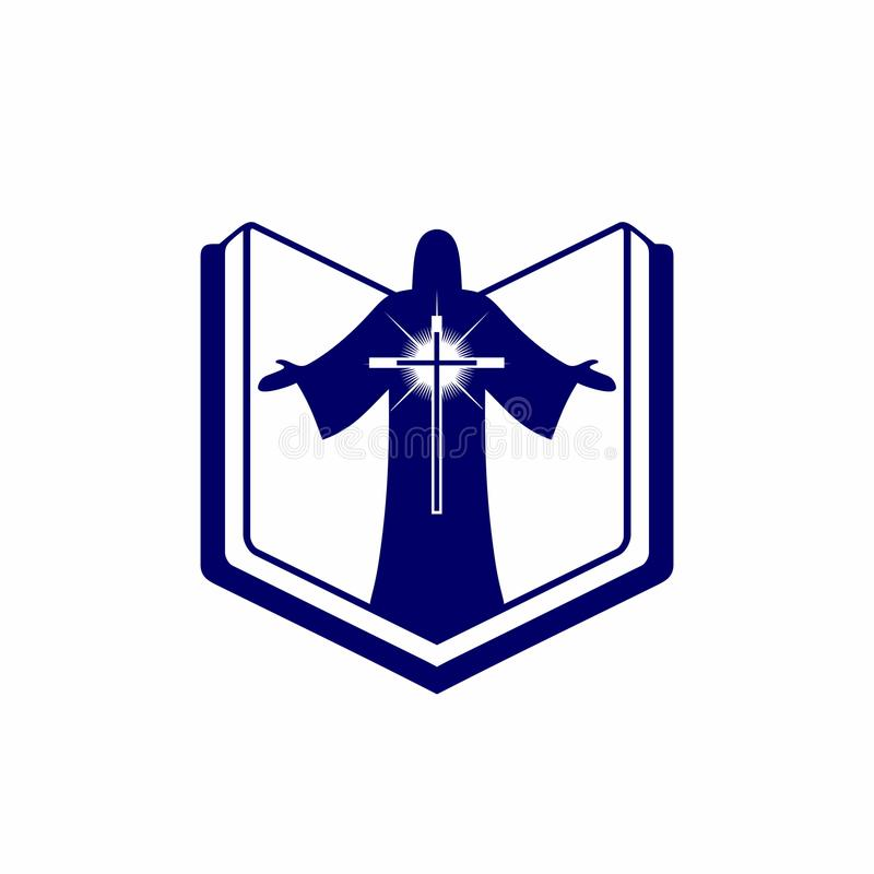 教会商标 基督徒符号 圣经、圣经、耶稣基督和救主发光的十字架 皇族释放例证