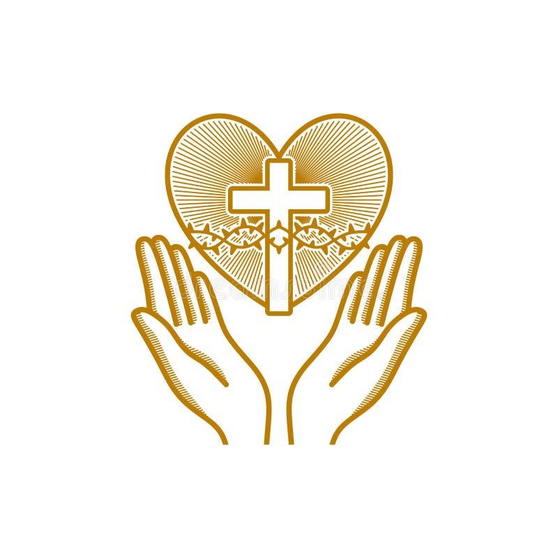 教会商标 基督徒符号 祈祷的手被指挥对与铁海棠的心脏耶稣基督的 向量例证