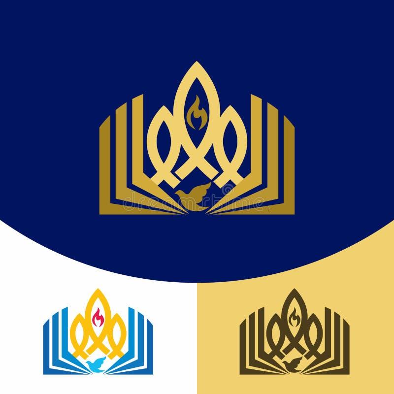 教会商标 基督徒符号 福音书、圣经、圣灵的火焰,鸠和耶稣基督的标志-鱼 向量例证