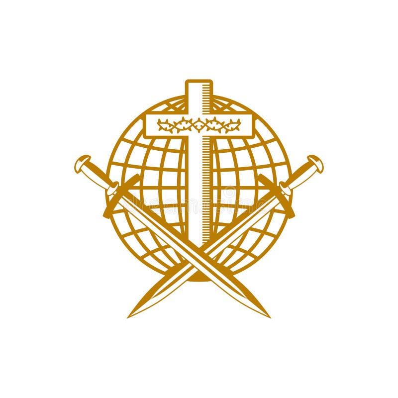 教会商标 基督徒符号 耶稣基督、地球、铁海棠和剑十字架  皇族释放例证