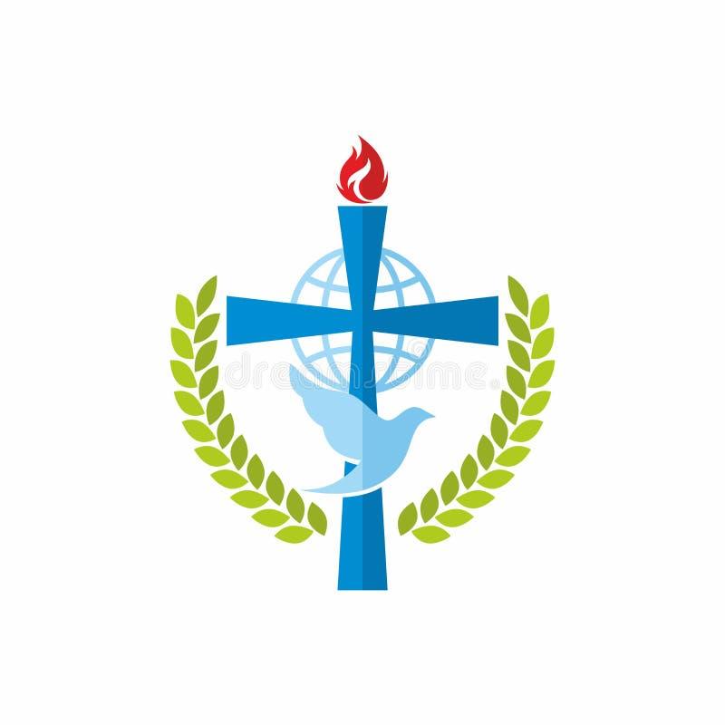 教会商标 耶稣、地球和鸠十字架  皇族释放例证
