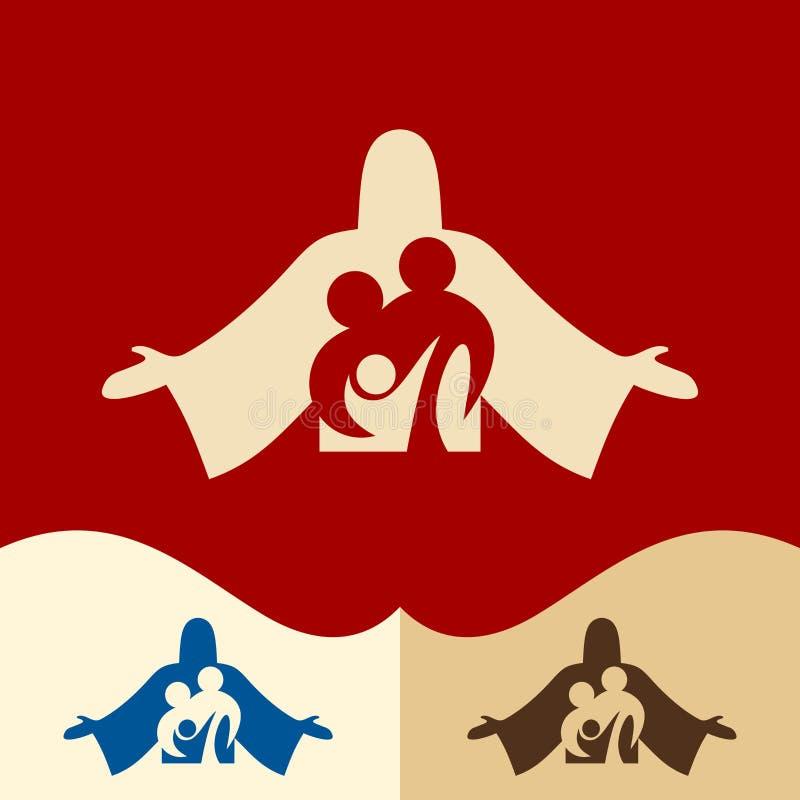 教会商标 Cristian标志 家庭在基督耶稣 皇族释放例证