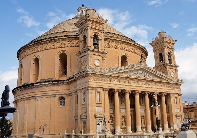 教会圆形建筑马耳他的mosta 免版税库存图片