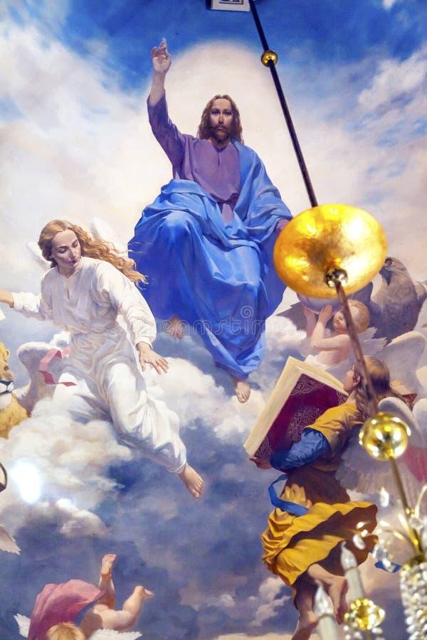 绘教会圣尼古拉基辅乌克兰的耶稣天使 库存照片