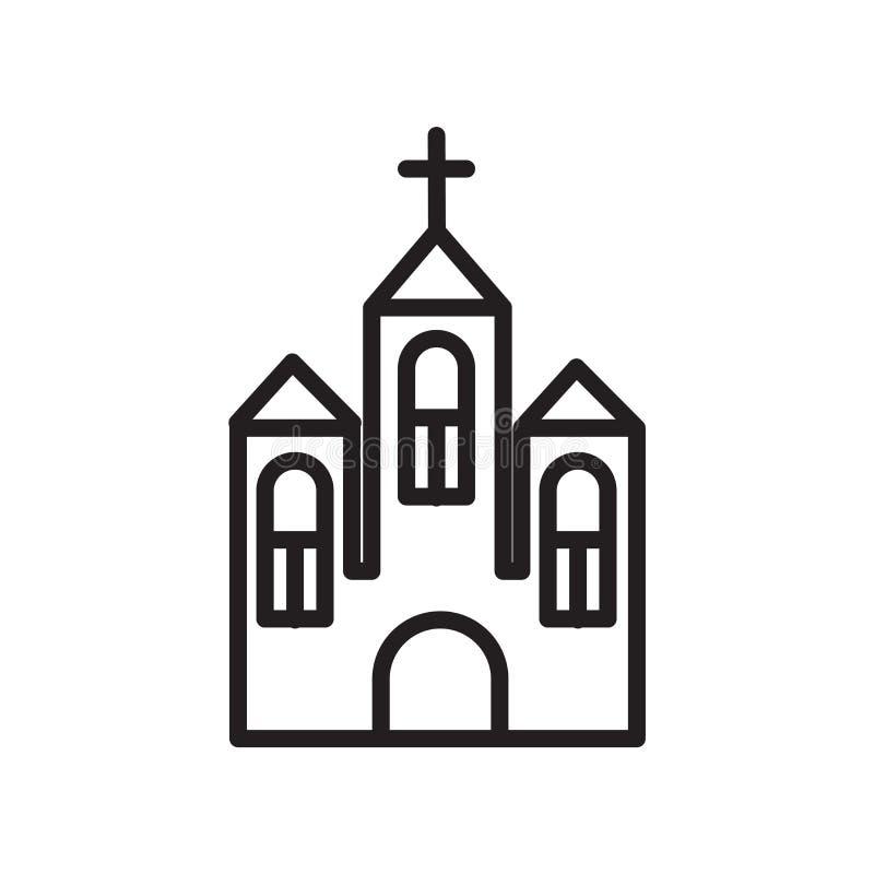 教会在白色背景、教会标志、线性标志和冲程设计元素隔绝的象传染媒介在概述样式 向量例证