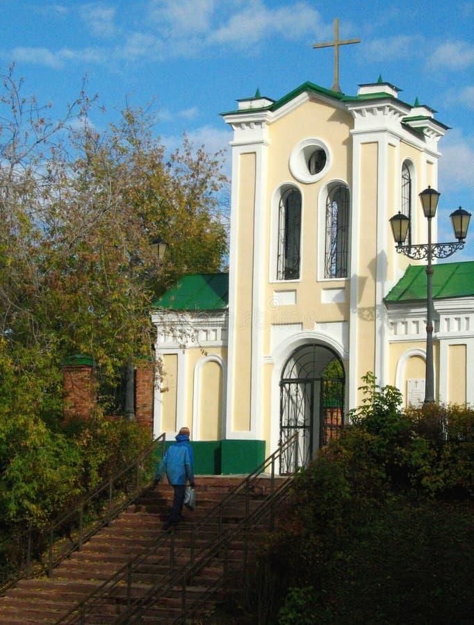 教会在西伯利亚市托木斯克 免版税库存照片