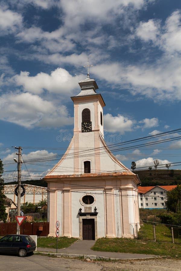 教会在锡比乌盐矿镇,罗马尼亚 免版税库存照片