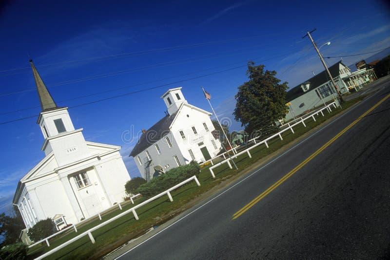 教会在Addison,沿风景路线22A的VT 库存照片