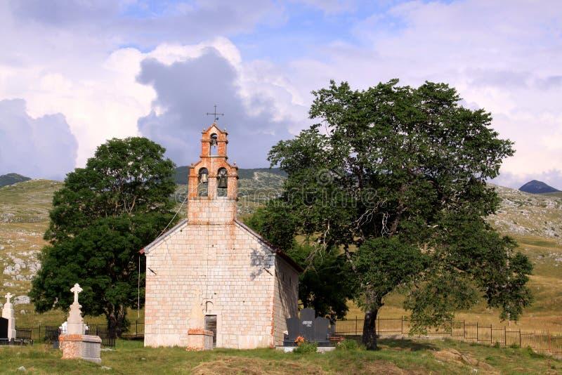 教会在Durmtor国家公园,黑山 图库摄影