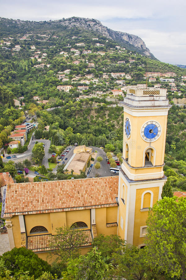 教会在Eze村庄,法国 免版税库存照片