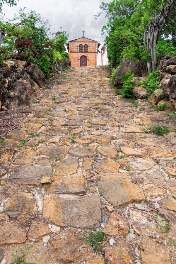 教会在Guane,哥伦比亚 免版税库存图片
