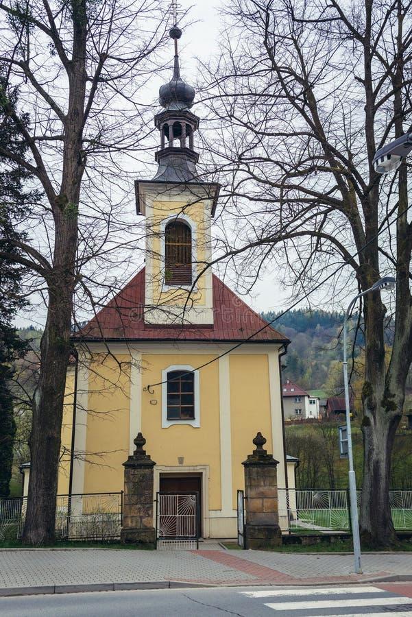 教会在Valasska Bystrice 免版税库存照片