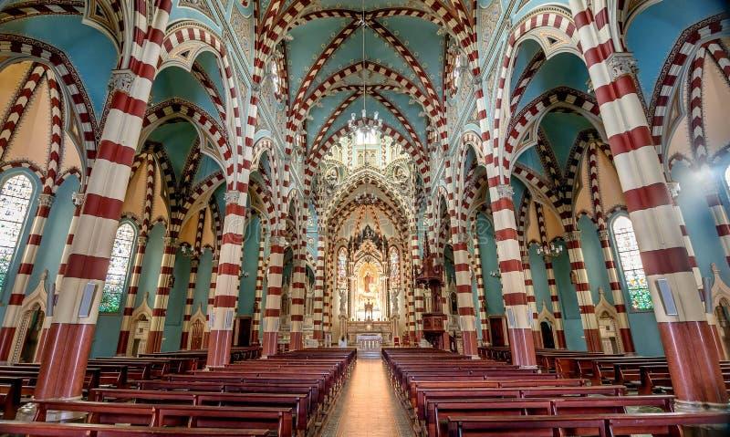 教会埃尔卡门的里面在波哥大,哥伦比亚 库存图片