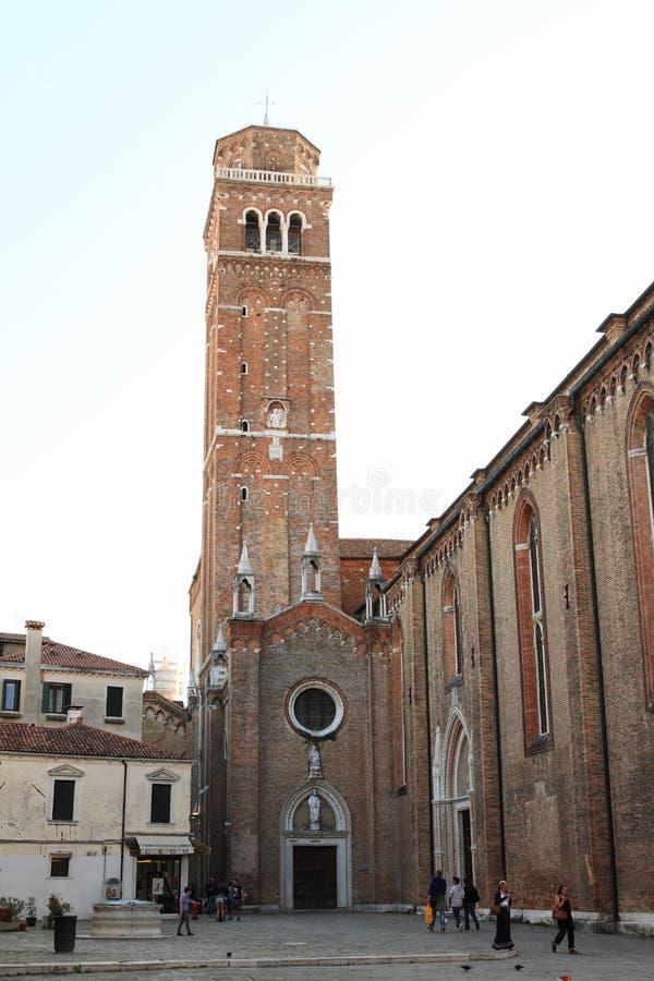 教会塔在威尼斯 库存照片