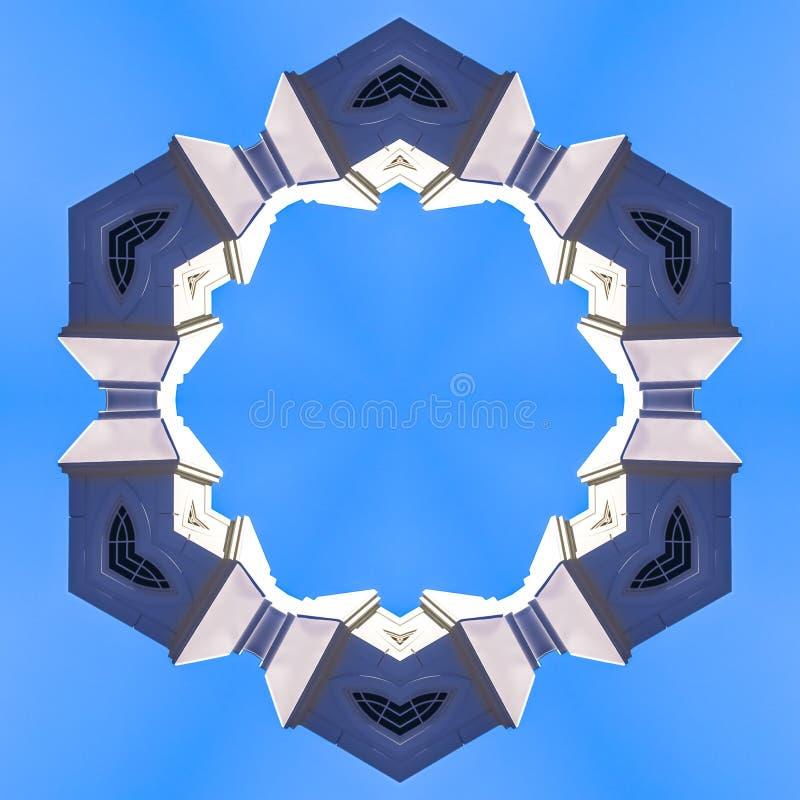 教会尖顶被形成入一个有角圆环 皇族释放例证