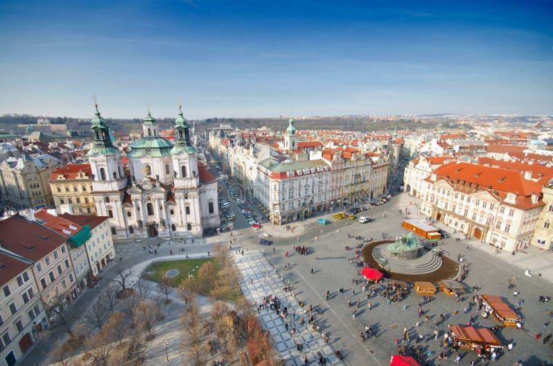 教会尼古拉斯老布拉格方形st城镇 库存照片