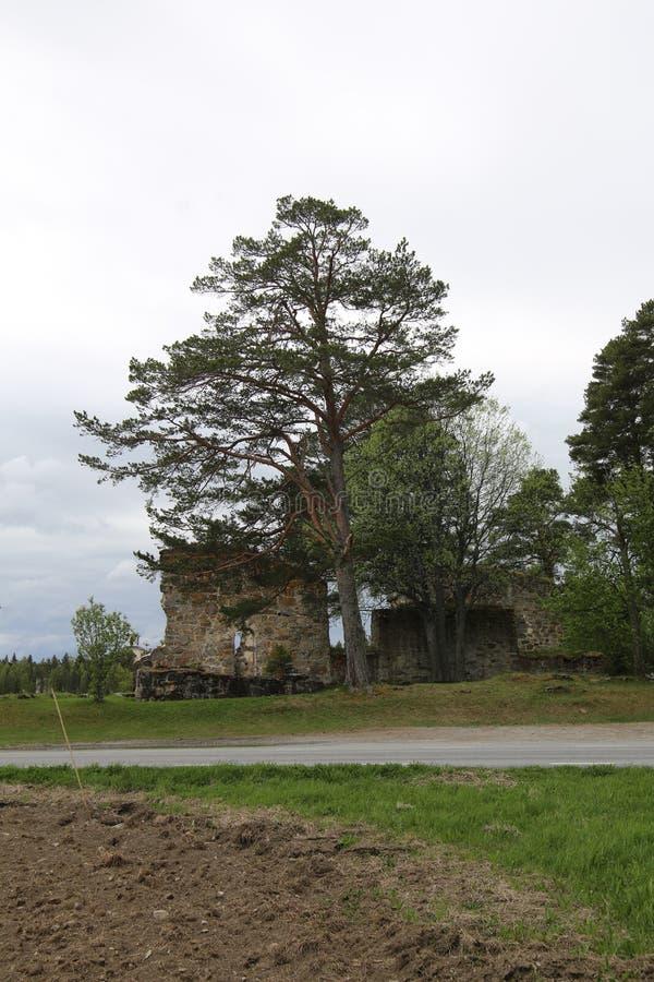 教会废墟和新的教会在Sunne在Jamtland县,瑞典 免版税库存照片