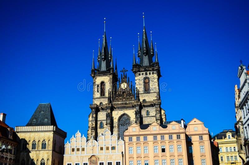 教会捷克夫人我们的布拉格共和国tyn 免版税库存照片