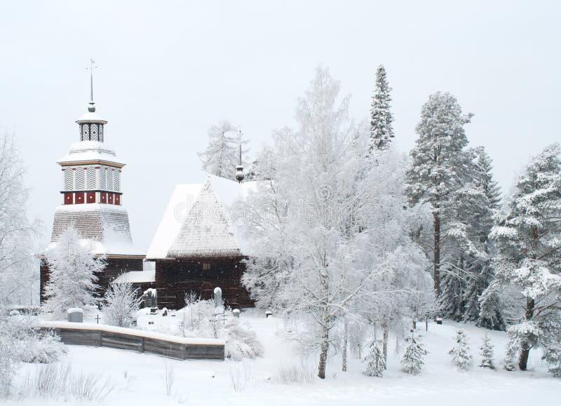 教会木的芬兰 免版税库存图片