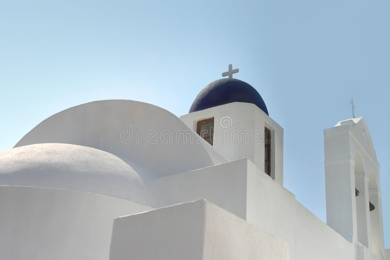 教会海岛santorini 免版税图库摄影