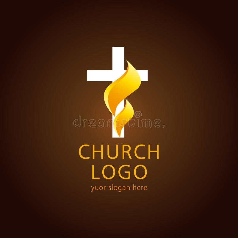 教会火焰十字架商标 库存例证