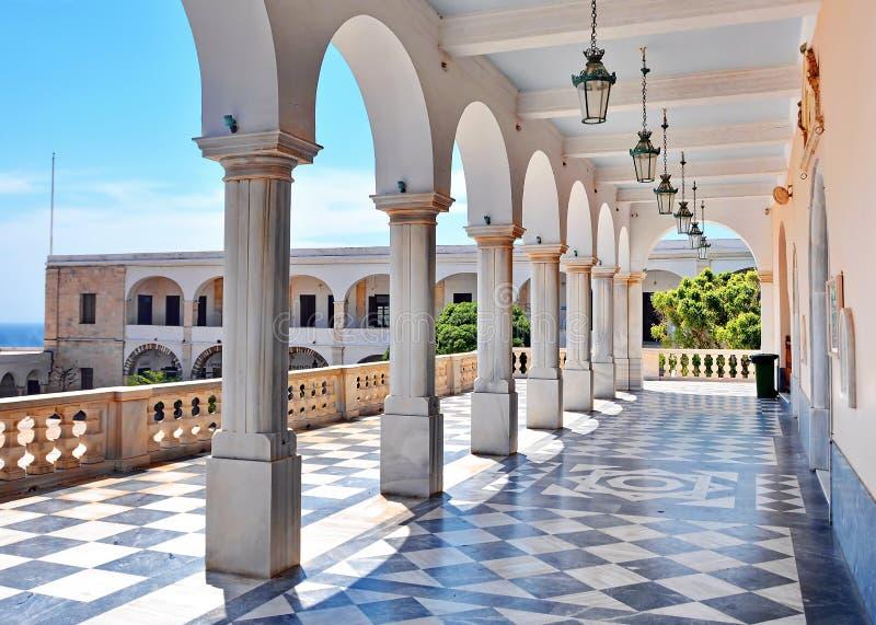 教会玛丹娜在蒂诺斯岛海岛,希腊 库存照片