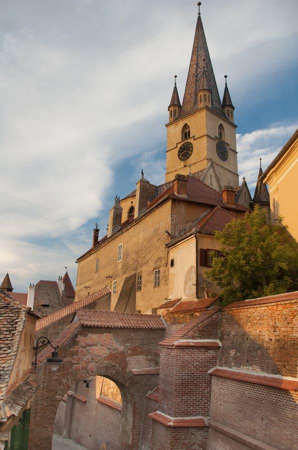 教会福音派哥特式锡比乌transylvania 库存照片