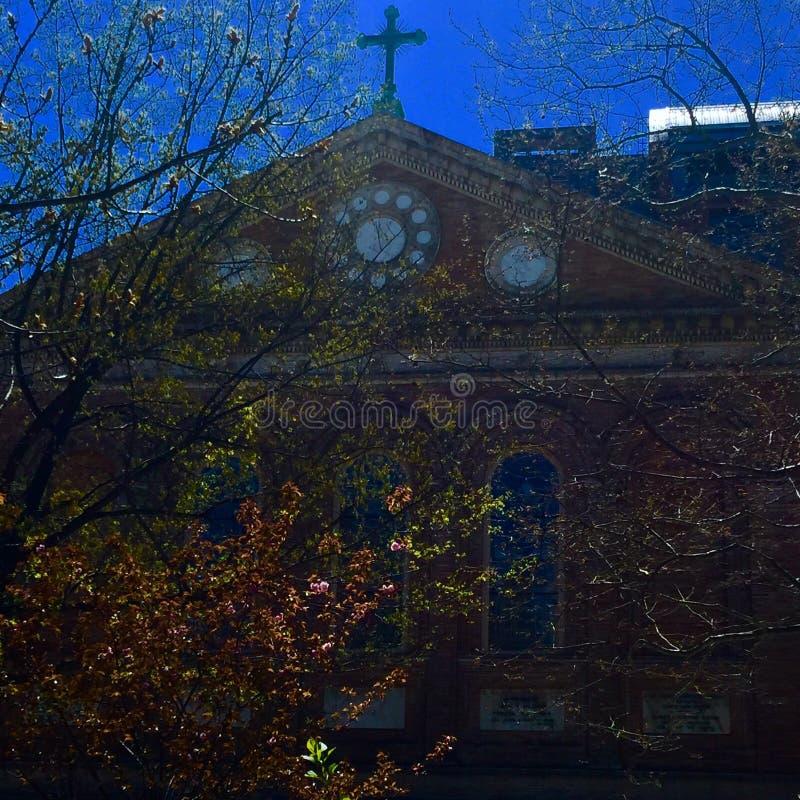 教会秋天 库存图片