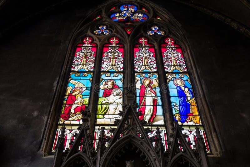 教会窗口在梅茨 库存照片