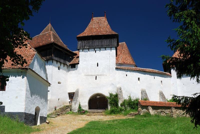 教会筑堡垒于的罗马尼亚transylvania viscri 库存图片