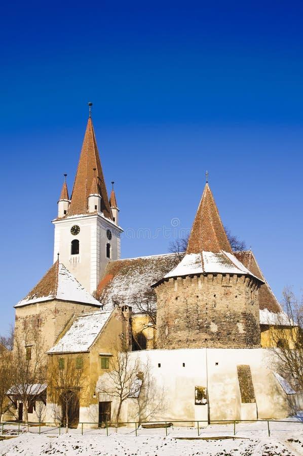 教会筑堡垒于的transylvania 免版税库存照片