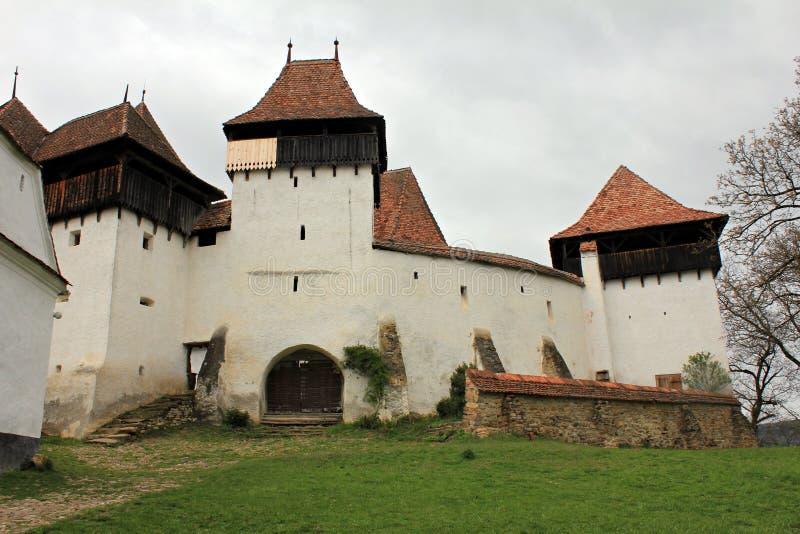 教会筑堡垒于的viscri 免版税库存照片