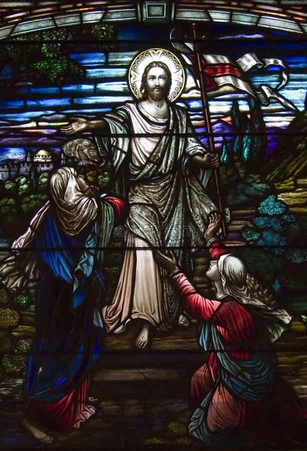 教会耶稣视窗 免版税库存图片