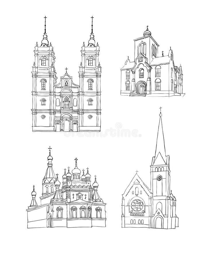教会被设置的草图 库存例证