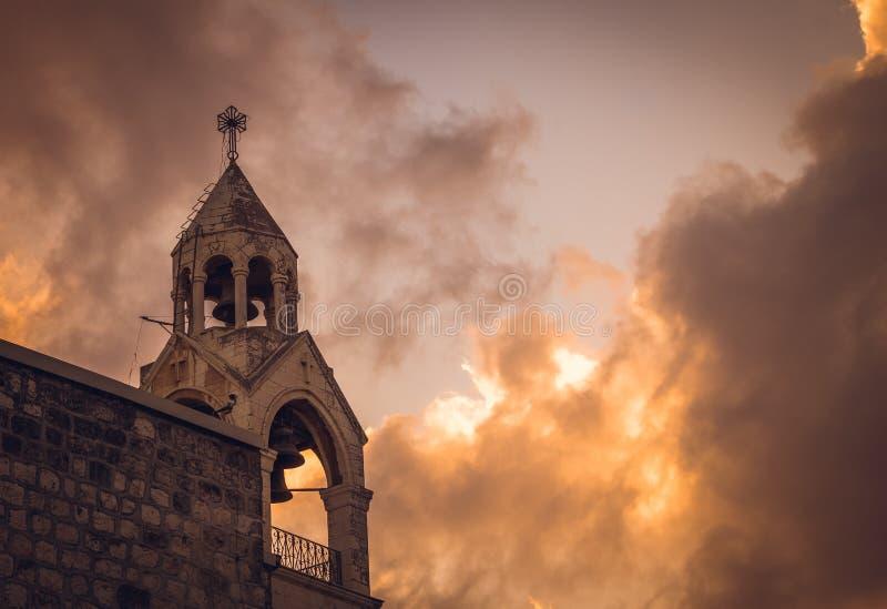 教会诞生,伯利恒,巴勒斯坦的钟楼 免版税图库摄影