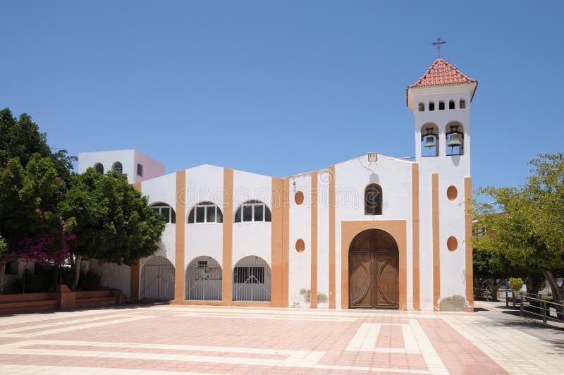 教会费埃特文图拉岛gran tarajal的西班牙 免版税图库摄影