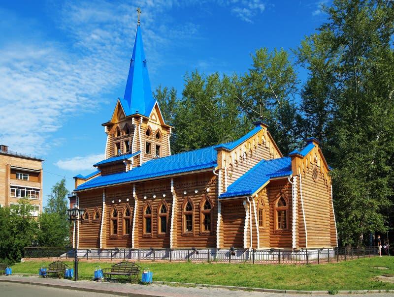 教会路德教会的俄国木的托木斯克 免版税库存图片