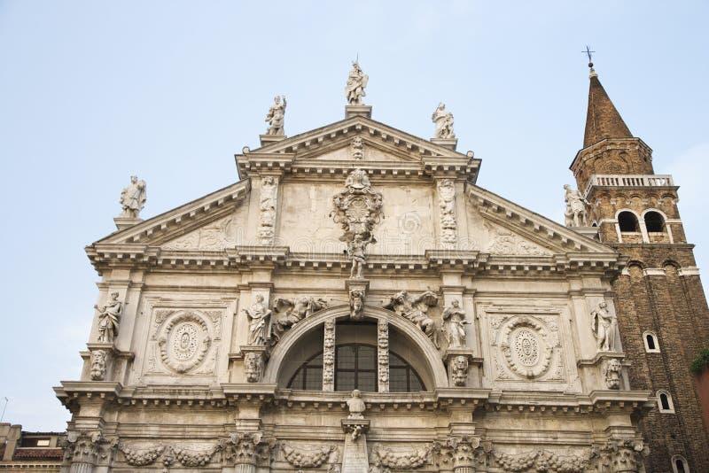 教会门面moise圣・威尼斯 免版税库存图片