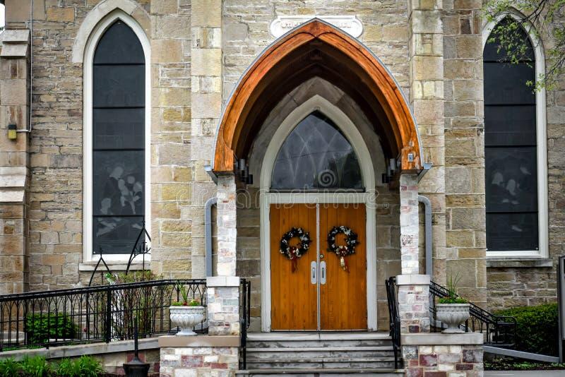 教会门-圣彼得的教会-东部特洛伊,威斯康辛 库存图片
