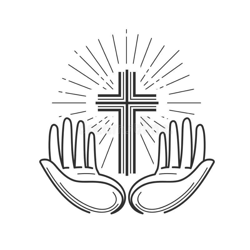 教会,宗教商标 圣经、在十字架上钉死、十字架、祷告象或者标志 线性设计,传染媒介例证 库存例证
