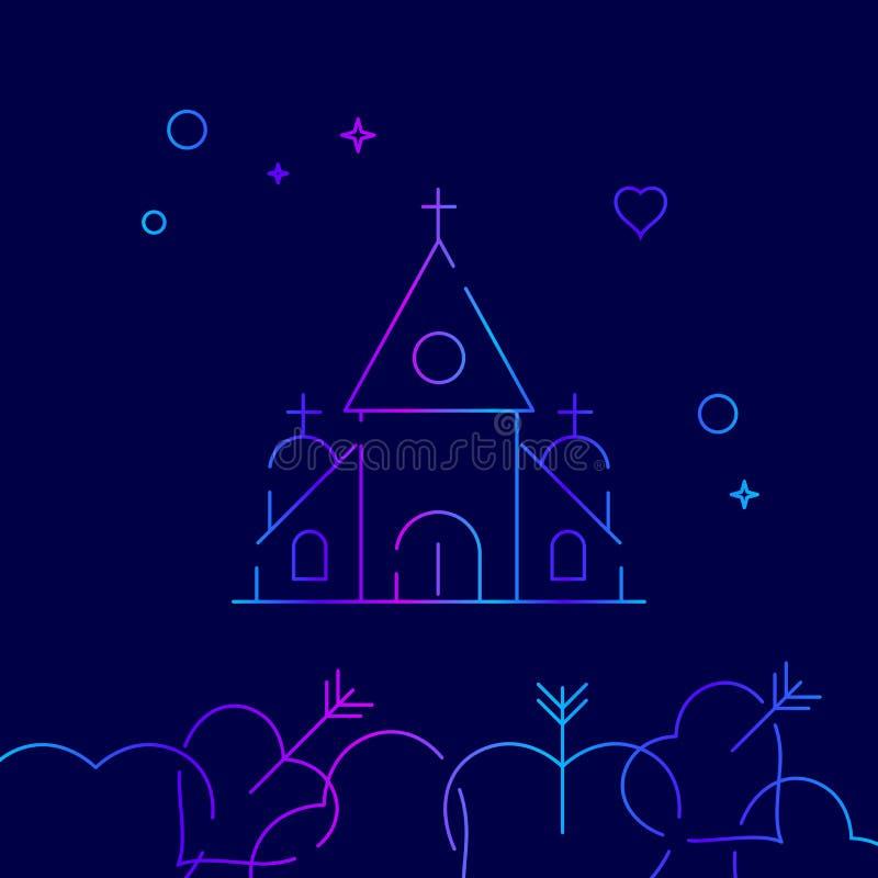 教会,教堂传染媒介线象,标志,图表,在深蓝背景的标志 相关底下边界 皇族释放例证