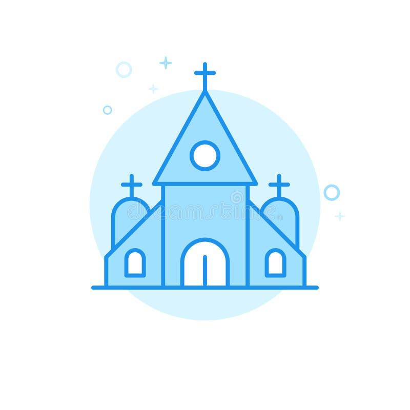 教会,教堂平的传染媒介象,标志,图表,标志 浅兰的单色设计 编辑可能的冲程 向量例证