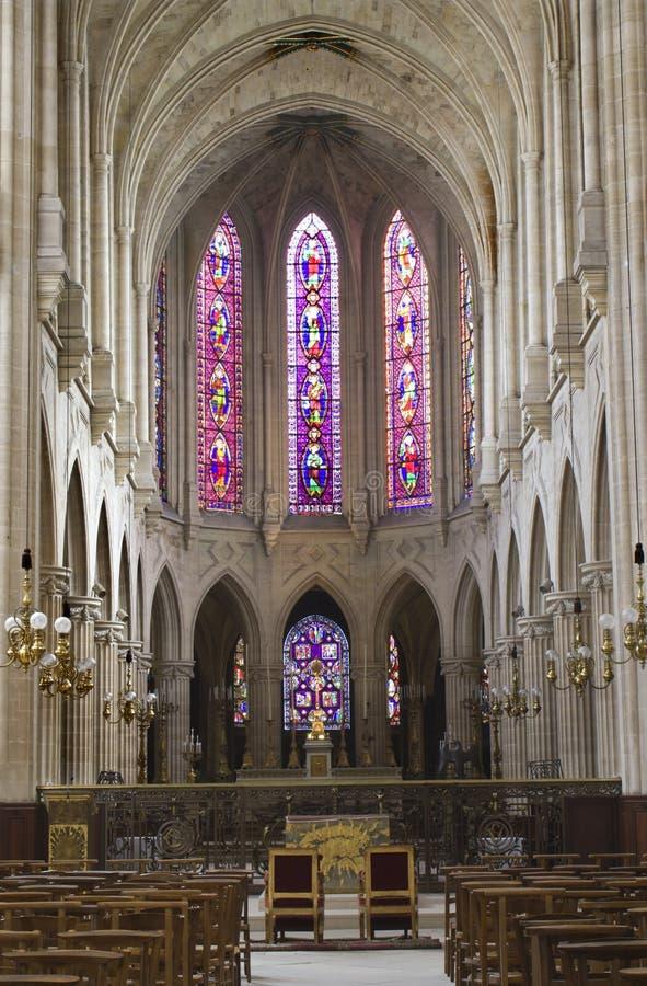 教会germain哥特式内部巴黎st 库存图片