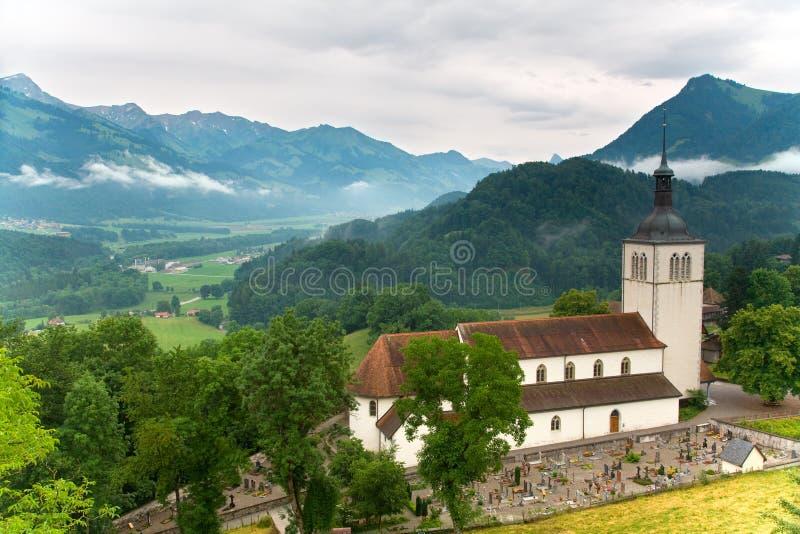 教会gruyeres瑞士 免版税库存照片