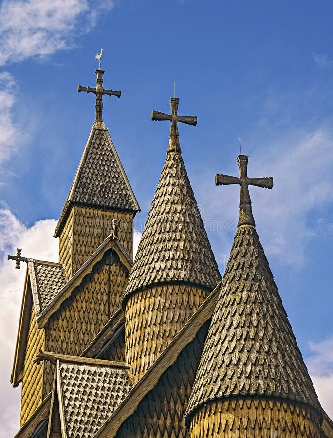 教会heddal梯级 库存图片