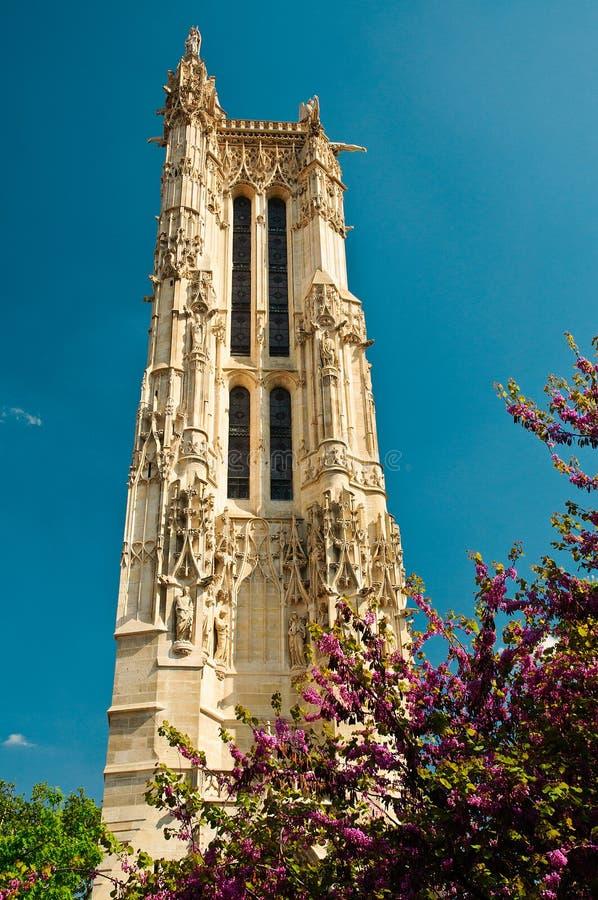 教会jacques ・巴黎圣徒塔 免版税库存图片